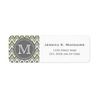 Monogrammed Sage Green & Grey Chevron Label