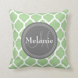 Monogrammed Sage Green & Grey Quatrefoil Throw Pillow