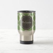 Monogrammed Sage Green & Grey Quatrefoil Travel Mug