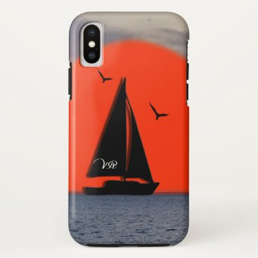 Monogrammed Sailboat iPhone X Case