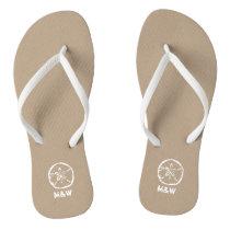 Monogrammed sand dollar beach wedding flip flops