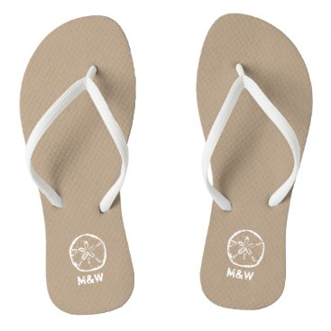 Beach Themed Monogrammed sand dollar beach wedding flip flops