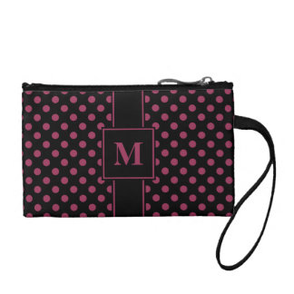 Monogrammed Sangria on Black Polka Dots Coin Purse