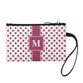 Monogrammed Sangria on White Polka Dots Coin Purse
