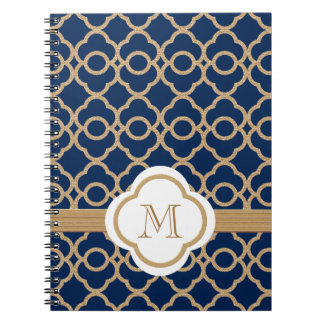 Monogrammed Sapphire Blue and Gold Moroccan Notebook