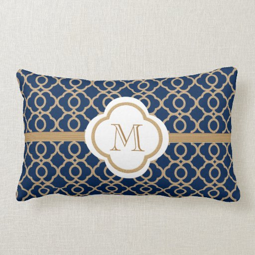 Monogrammed sapphire blue and gold moroccan throw pillow for Blue and gold pillows