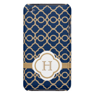 Monogrammed Sapphire Gold Moroccan Barely There iPod Cases