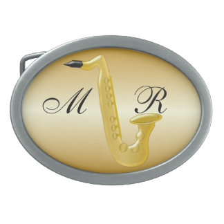 Monogrammed Saxophone Gold Coloured Belt Buckle