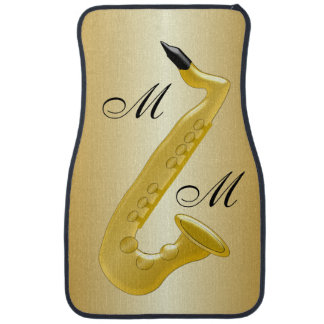 Monogrammed Saxophone Gold Coloured Car Floor Mat