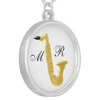 Monogrammed Saxophone Round Pendant Necklace