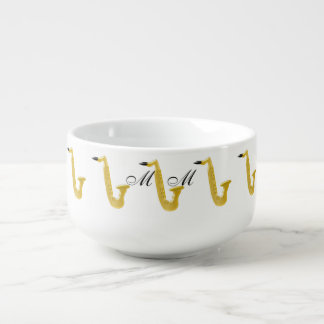 Monogrammed Saxophone Soup Bowl With Handle
