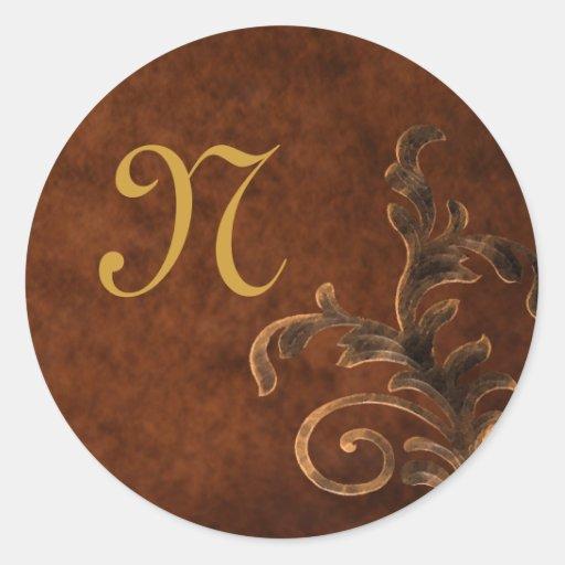 Monogrammed Scroll Leaf Sticker