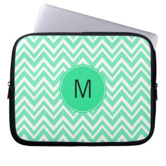 Monogrammed Seafoam Mint Green Ziggag Pattern Computer Sleeve