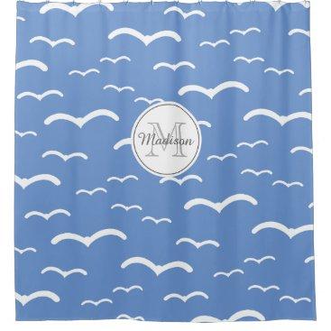 Beach Themed Monogrammed Seagull Ocean Beach House sky blue Shower Curtain