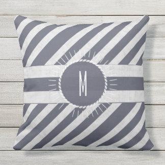Monogrammed Seas the Day Bold Nautical Navy Stripe Outdoor Pillow