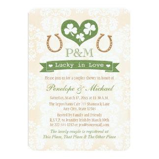 Monogrammed Shamrock and Horseshoe Couples Shower Card