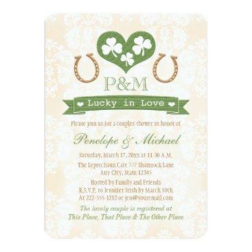 Valentines Themed Monogrammed Shamrock and Horseshoe Couples Shower Card