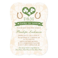 Monogrammed Shamrock and Horseshoes Bridal Shower Card