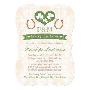 Monogrammed Shamrock and Horseshoes Bridal Shower Card at Zazzle