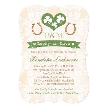 Valentines Themed Monogrammed Shamrock and Horseshoes Bridal Shower Card