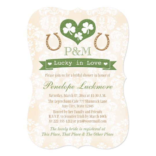 monogrammed shamrock and horseshoes bridal shower invitation