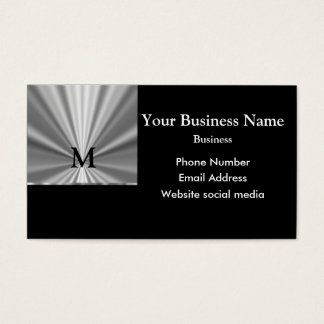 Monogrammed silver gray and black metallic look business card
