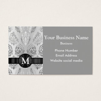 Monogrammed  silver gray damask business card