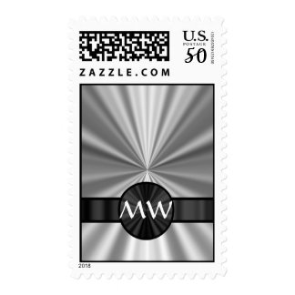 Monogrammed silver gray postage