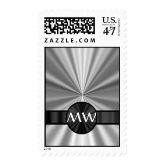 Monogrammed silver gray postage stamp