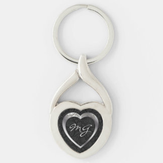 Monogrammed Silver Heart on Black -Key Chain Keychain