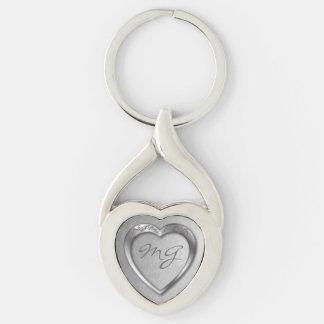 Monogrammed Silver Heart on Silver -Key Chain Keychain