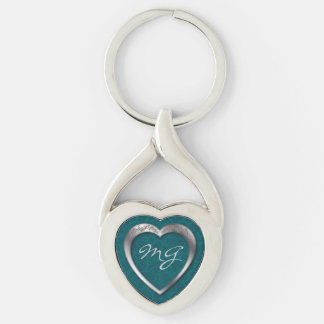 Monogrammed Silver Heart on Teal - Key Chain