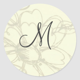Monogrammed Sketched Flowers Stickers