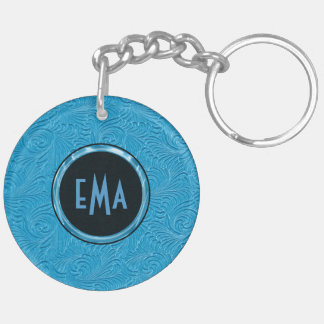 Monogrammed Sky Blue Embossed Floral Pattern Double-Sided Round Acrylic Keychain