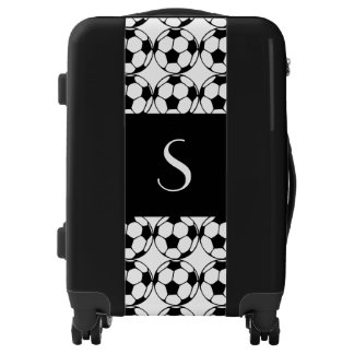 Monogrammed  soccer ball pattern in black&white luggage