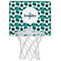 Monogrammed Soccer Ball Pattern Sports Green Kids Mini Basketball Hoop