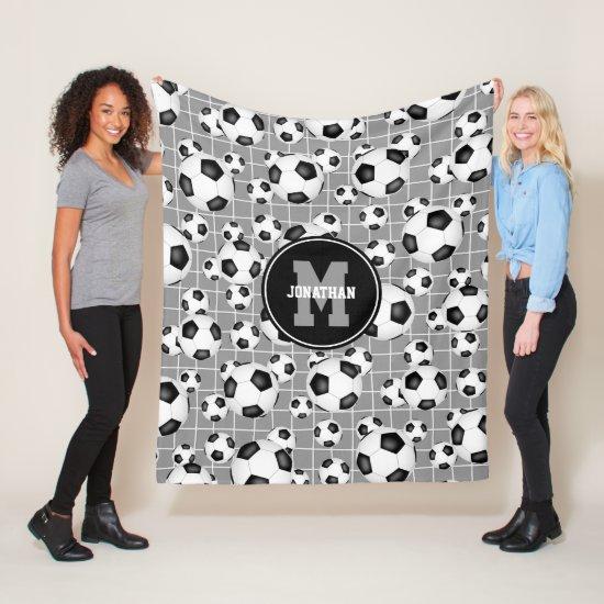 monogrammed soccer balls pattern w goal net detail fleece blanket