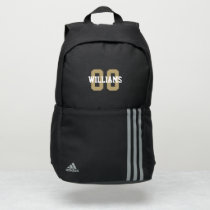 Monogrammed Sports Team Player Black White Gold Adidas Backpack