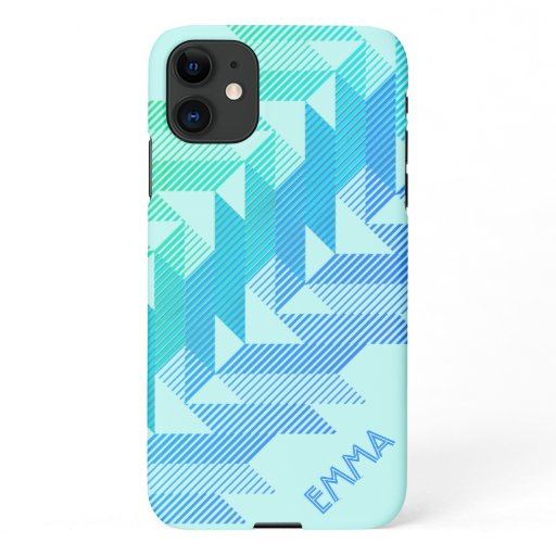 Monogrammed Sporty Stripes Aqua iPhone 11 Case