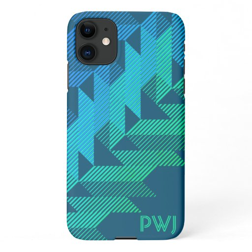 Monogrammed Sporty Stripes Dark Teal iPhone 11 Case
