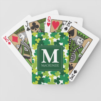 Monogrammed St. Patrick's Day Shamrocks Bicycle Playing Cards