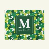 Monogrammed St. Patrick's Day Shamrocks Doormat