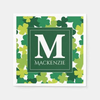 Monogrammed St. Patrick's Day Shamrocks Napkin
