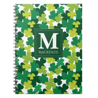 Monogrammed St. Patrick's Day Shamrocks Spiral Notebook