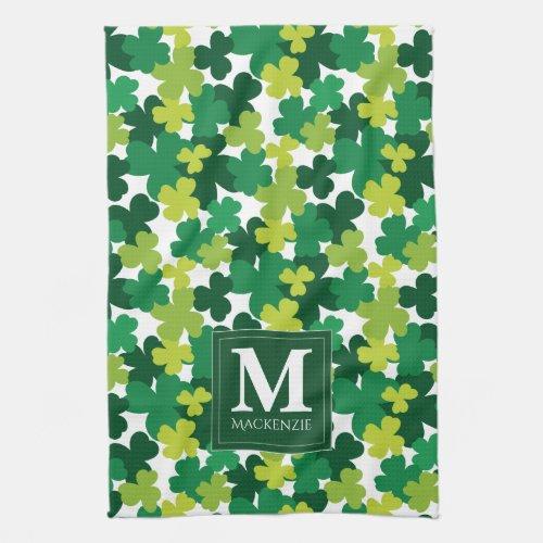 Monogrammed St. Patrick's Day Shamrocks Towel