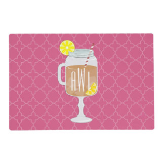 Monogrammed Stemmed Mason Jar of Sweet Tea Laminated Placemat