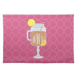 Monogrammed Stemmed Mason Jar of Sweet Tea Cloth Placemat