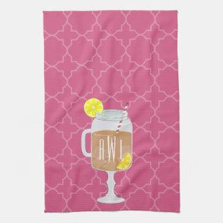 Monogrammed Stemmed Mason Jar of Sweet Tea Towels