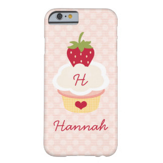 Monogrammed Strawberry Cupcake Barely There iPhone 6 Case