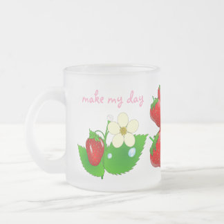 Monogrammed Strawberry Fruit Shake Smoothie Blend 10 Oz Frosted Glass Coffee Mug